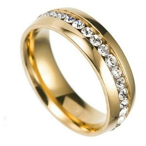 Gold stainless white AAA CZ Wedding Brand ring